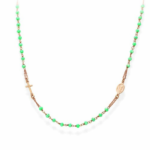 Rosary round-necklace with seagreen iridescent crystals