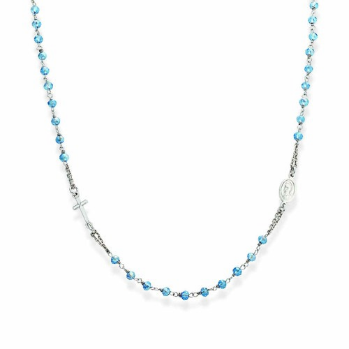 Rosary round-necklace with skyblue iridescent crystals