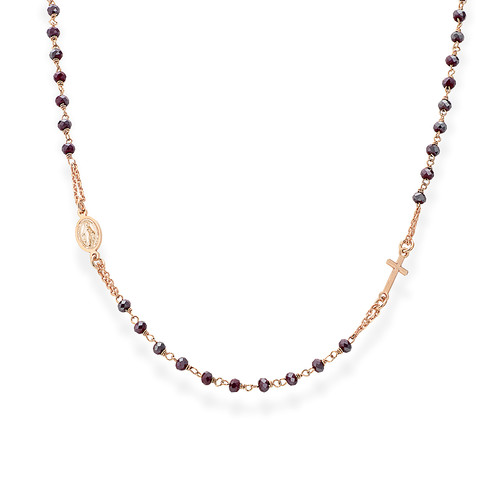 Rosary round-necklace withruby red iridescent crystals