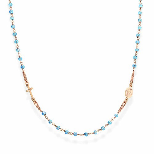 Rosary round-necklace withskyblue iridescent crystals