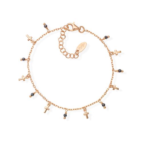 Rose Gold and Black Crystals Cross Bracelet
