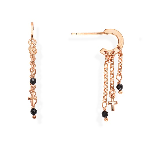 Rose Gold and Black Crystals Cross Earrings