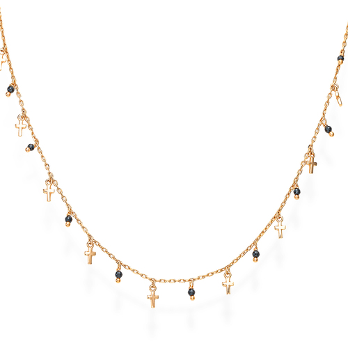 Rose Gold and Black Crystals Cross Necklace