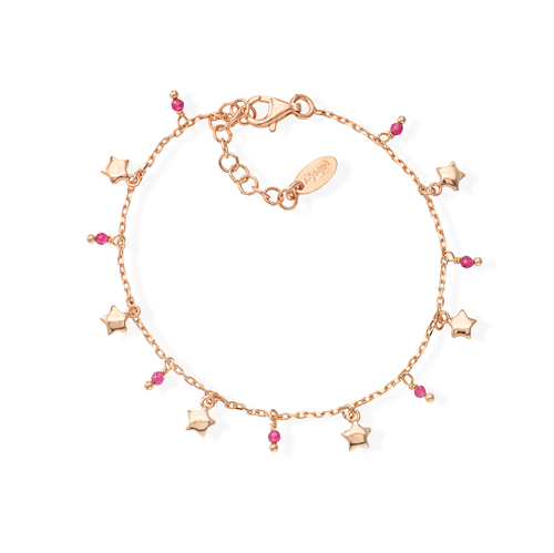 Rose Gold and Ruby Crystals Stars Bracelet
