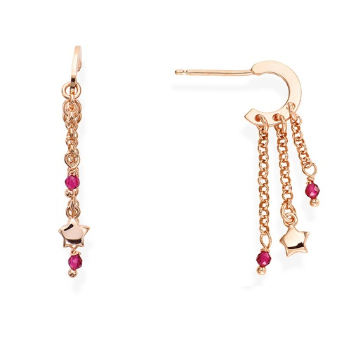 Rose Gold and Ruby Crystals Stars Earrings