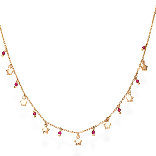 Rose Gold and Ruby Crystals Stars Necklace
