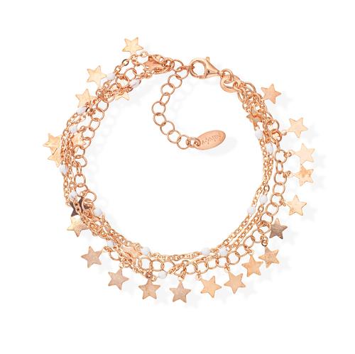 Rose Gold and White Enamel Cascade Stars Bracelet