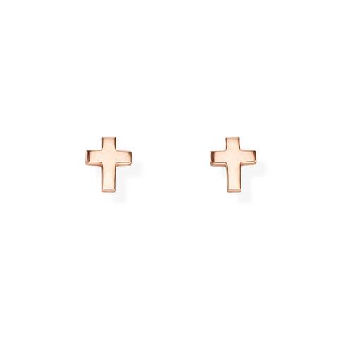 Rose Rounded Cross Earrings