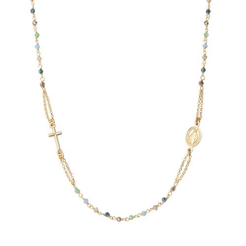 Round Necklace Rosary Pastel Multicolor Crystals