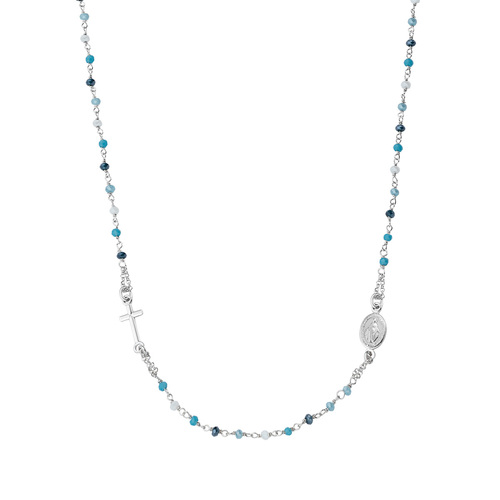 Round Necklace Rosary with Multicolor Blue Crystals