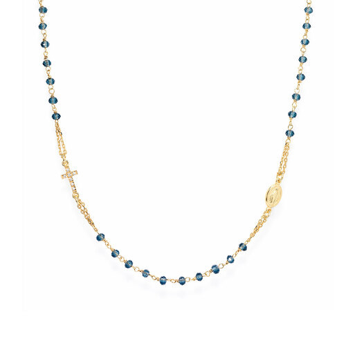 Round rosay necklace AG925 golden with crystals