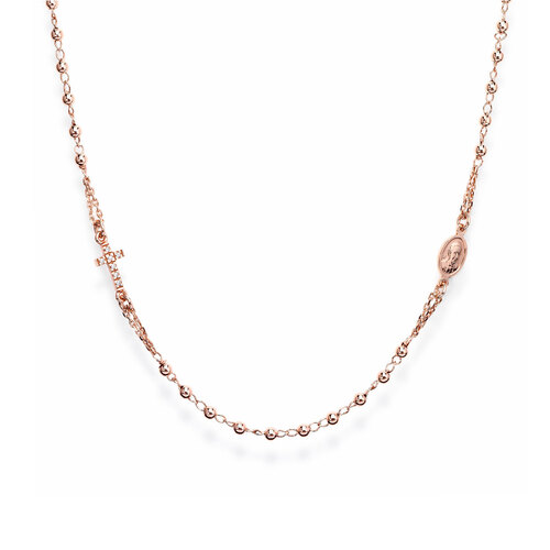 Round rosay necklace cross pavè AG925