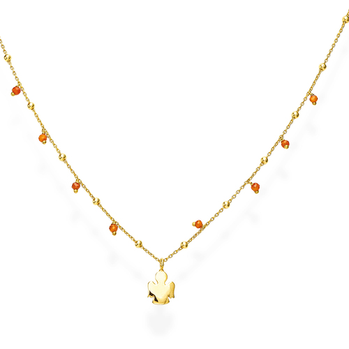 Rounded Angel and Orange Crystal Necklace