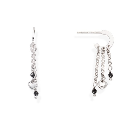Rounded Heart and Black Gems Earrings