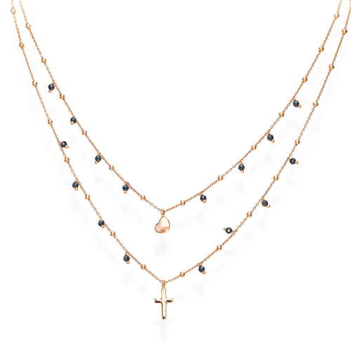 Rounded Heart and Cross Double Necklace