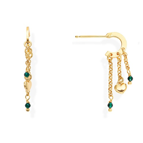 Rounded Heart and Green Gems Earrings