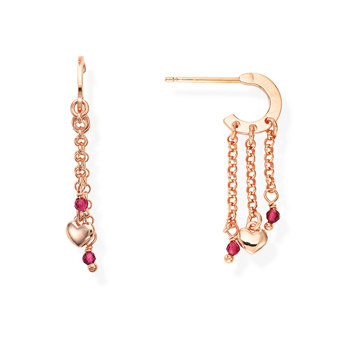 Rounded Heart and Ruby Gems Earrings
