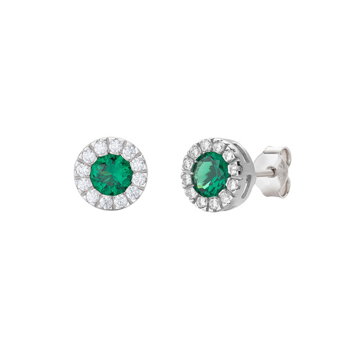 Royal Green and White Zircon Earrings