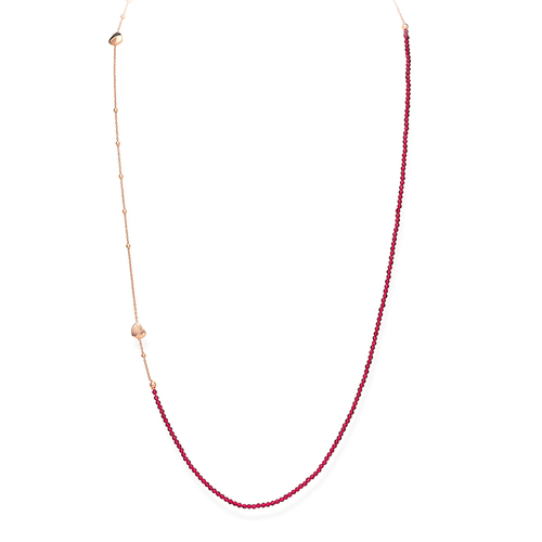 Ruby Crystals and Rose Heart Long Necklace