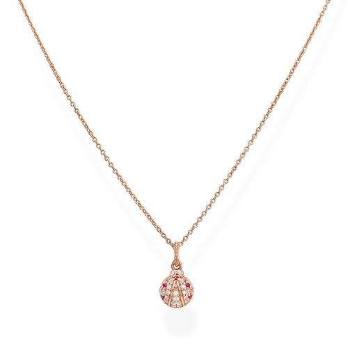 Ruby Zirconia Ladybug Necklace