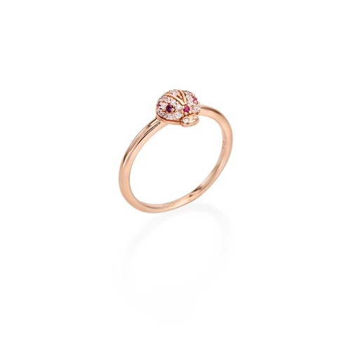 Ruby Zirconia Ladybug Ring
