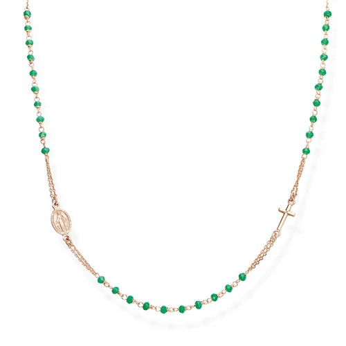 Sea Water Green  Crystals Rosary Necklace