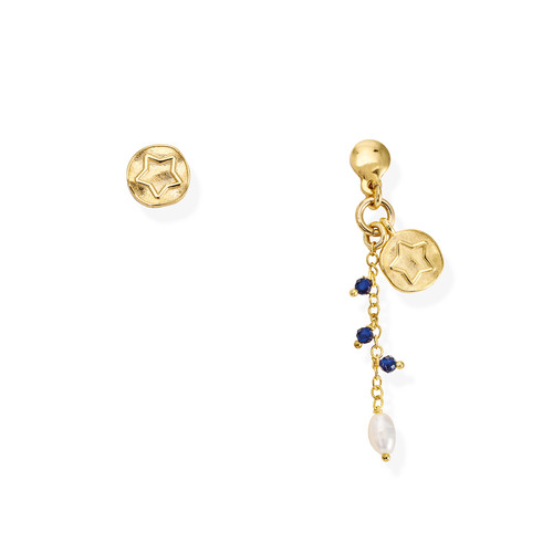 Star and Pearl Medal Earrings