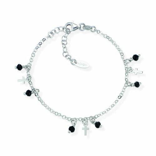 Sterling silver Bracelet e cristalli neri