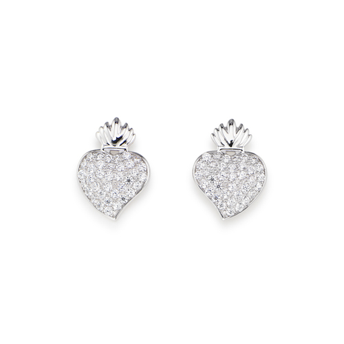 Sterling Silver Earrings and white zirconia Rhodium