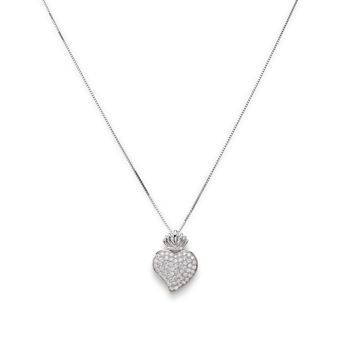 Sterling Silver Necklace and white zirconia Rhodium
