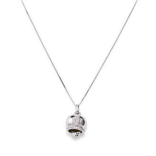 Sterling silver Necklace Bell Heart,White cubic zirconia