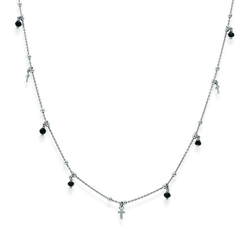 Sterling silver necklace with cristalli neri