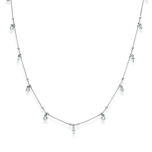 Sterling silver necklace with zirconi