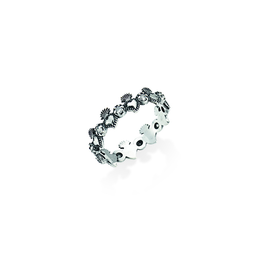 Sterling Silver Ring and white zirconia Burnished