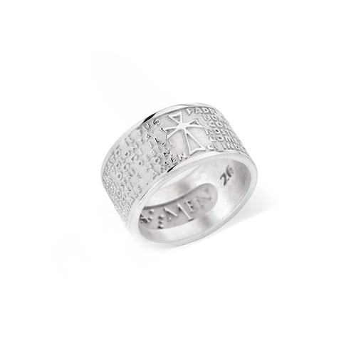 "Sterling Silver Ring with engraved ""Our Father"" italian"