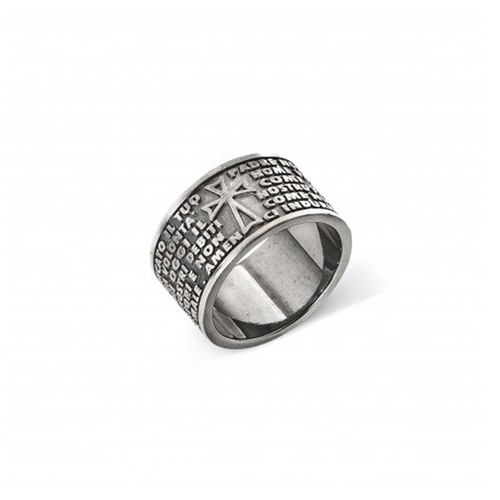 """Sterling Silver Ring with engraved """"Our Father"""" italian"""