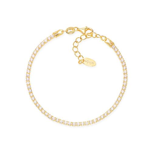 Tennis Bracelet Golden Zircons White