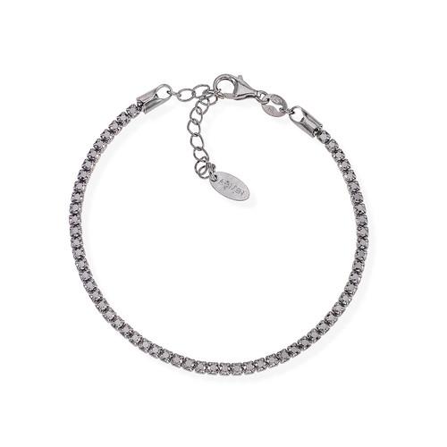 Tennis Bracelet Rhodium Nero Zircons Black