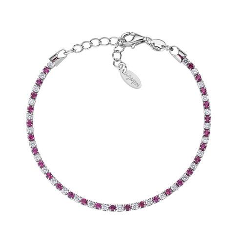 Tennis Bracelet Rhodium White and Red Zircons