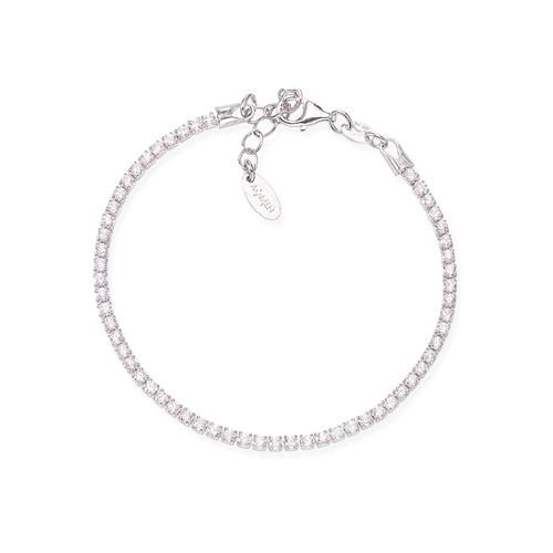 Tennis Bracelet Rhodium Zircons White