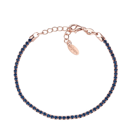 Tennis Bracelet Rosè Blue Zircons