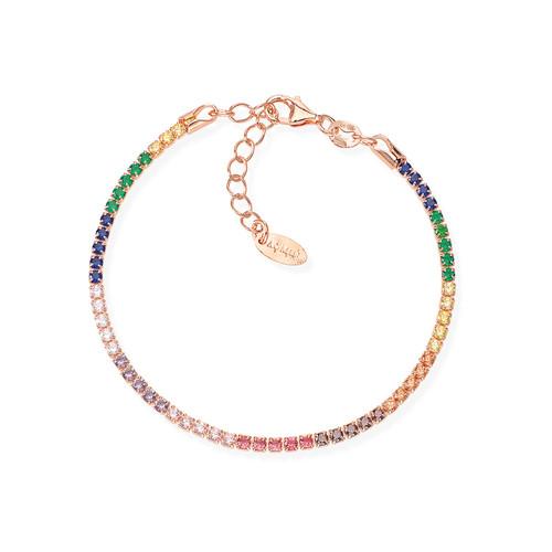 Tennis Bracelet Rosè Zircons Multicolor