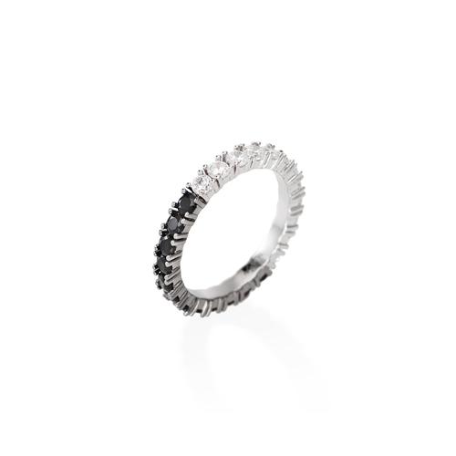 White and Black Zirconia Eternity Ring