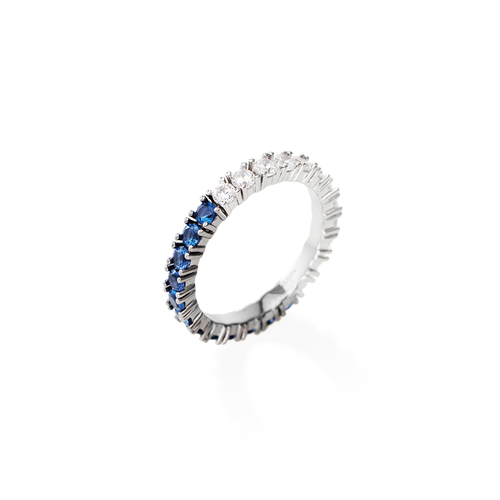White and Blue Zirconia Eternity Ring