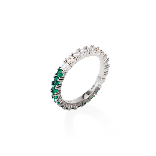 White and Green Zirconia Eternity Ring