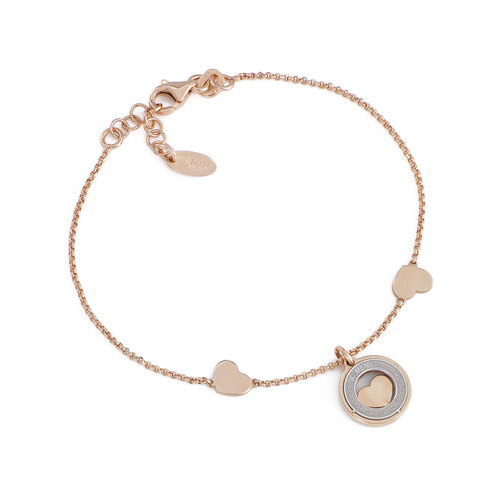 Words bracelet and heart AG925 rosè
