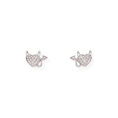 Zirconate Heart and Little Devil Earrings